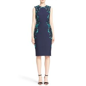 Lela Rose Floral Embroidered Tulle Sheath Dress